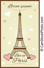 Vector greeting card with eiffel tower