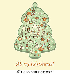 Vector  Greeting Card with Fir Tree