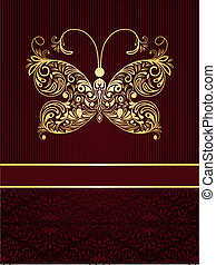 Vector greeting card with golden butterfly