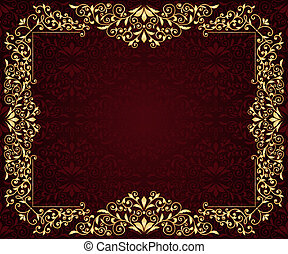 Vector greeting card with golden frame in vintge seamless pattern, seamless pattern in swatch menu