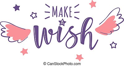 """Vector greeting card with """"Make a wish"""" inscription"""