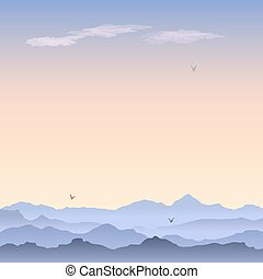Vector greeting card with mountain landscape. Misty morning, clouds and birds soaring in the sky. Foggy hills meet the dawn