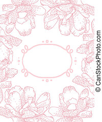 vector greeting card with pink flowers