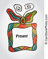Vector Greeting Card with Present Box