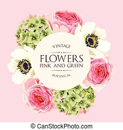 Vector greeting card with roses and hydrangea