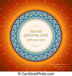 Vector greeting card with round frame for text