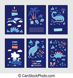Vector greeting cards with funny dinosauts and elements in...