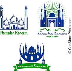 Vector greeting icons for Ramadan Kareem