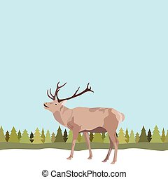 Vector greeting, invitation card for christmas, new year. Vector reindeer with antler on seamless background of trees and snow
