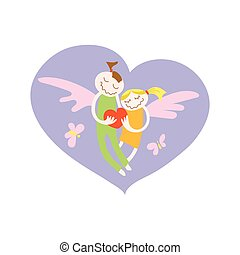 Vector greeting invitation card for Saint Valentine day. Loving boy and girl with wings in heart