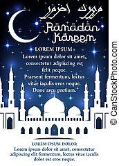 Vector greeting poster for Ramadan Kareem holiday
