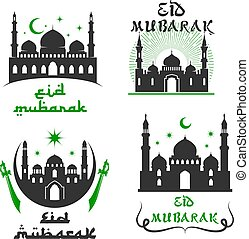 Vector greetings set for Eid Mubarak festival - Eid Mubarak...