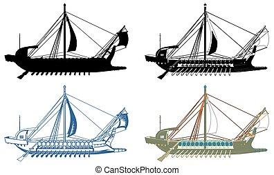 vector..., grek, statek, starożytny