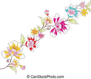 vector, grens, bloem