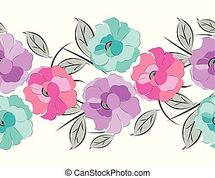 vector, grens, floral, seamless, zich verbeelden