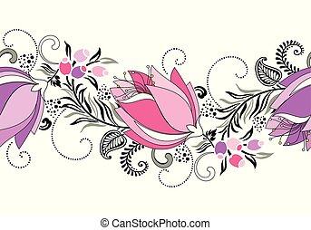vector, grens, tulp, seamless, zich verbeelden, bloem