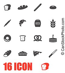 Vector grey bakery icon set