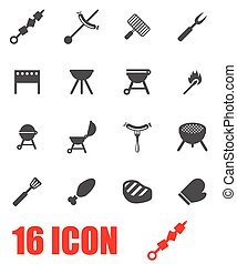 Vector grey barbecue icon set