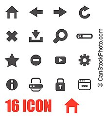 Vector grey browser icon set
