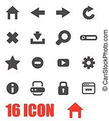Vector grey browser icon set