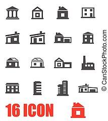 Vector grey buildings icon set