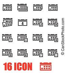 Vector grey calendar icon set