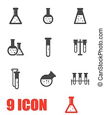 Vector grey chemistry icon set