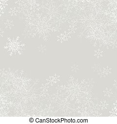 Vector grey Christmas background with white snowflakes.