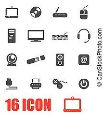Vector grey computer icon set