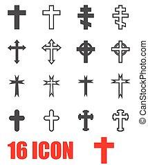 Vector grey crosses icon set