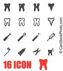 Vector grey dental icon set on white background