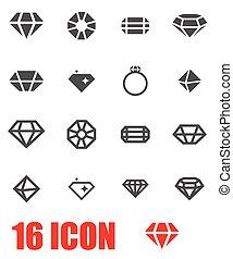 Vector grey diamond icon set