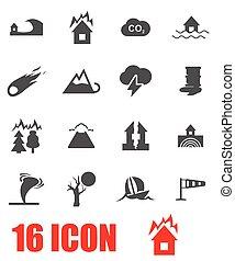 Vector grey disaster icon set