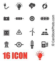 Vector grey electricity icon set