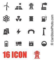 Vector grey energetics icon set on white background