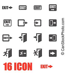 Vector grey exit icon set on white background