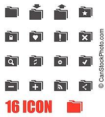 Vector grey folder icon set