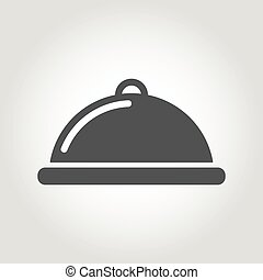 Vector grey food platter icon