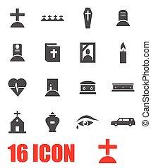 Vector grey funeral icon set