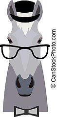 Vector grey horse head in glasses wearing bowtie and cap