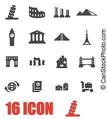 Vector grey landmarks icon set