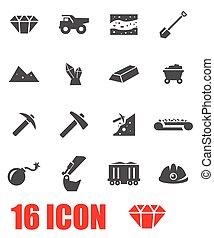 Vector grey mining icon set