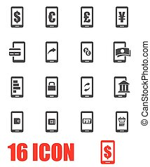 Vector grey mobile banking icon set