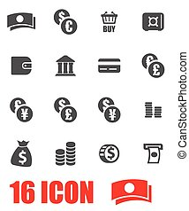 Vector grey money icon set