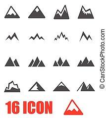 Vector grey mountains icon set