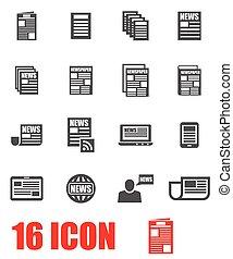 Vector grey newspaper icon set