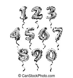vector grey number 1, 2, 3, 4, 5, 6, 7, 8, 9, 0 metallic balloon. Party decoration golden balloons. Anniversary sign for happy holiday, celebration, birthday, carnival, new year.