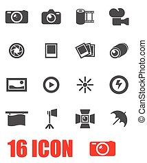 Vector grey photo icon set