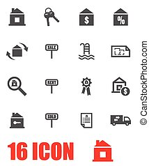 Vector grey real estate icon set