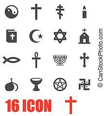 Vector grey religion icon set